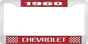 OER 1960 Chevrolet Style #3 Red and Chrome License Plate Frame with White Lettering LF2236003C
