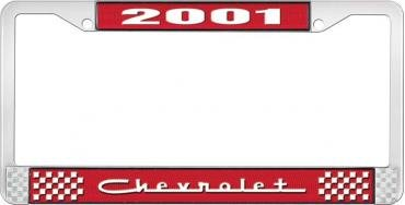 OER 2001 Chevrolet Style #5 - Red and Chrome License Plate Frame with White Lettering *LF2230105C