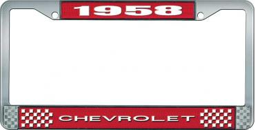 OER 1958 Chevrolet Style #1 - Red and Chrome License Plate Frame with White Lettering *LF2235801C