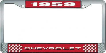 OER 1959 Chevrolet Style #1 Red and Chrome License Plate Frame with White Lettering LF2235901C