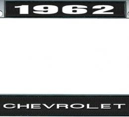 OER 1962 Chevrolet Style #1 - Black and Chrome License Plate Frame with White Lettering *LF2236201A