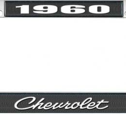 OER 1960 Chevrolet Style #4 Black and Chrome License Plate Frame with White Lettering LF2236004A