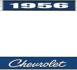 OER 1956 Chevrolet Style #4 Blue and Chrome License Plate Frame with White Lettering LF2235604B