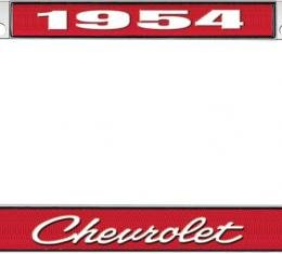 OER 1954 Chevrolet Style #4 Red and Chrome License Plate Frame with White Lettering LF2235404C