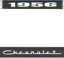 OER 1956 Chevrolet Style #5 - Black and Chrome License Plate Frame with White Lettering *LF2235605A