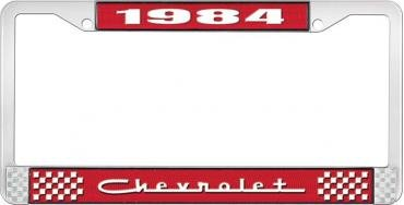 OER 1984 Chevrolet Style # 5 Red and Chrome License Plate Frame with White Lettering LF2238405C