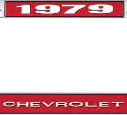 OER 1979 Chevrolet Style # 1 Red and Chrome License Plate Frame with White Lettering LF2237901C