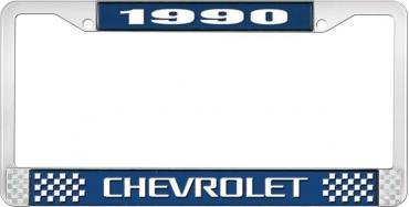 OER 1990 Chevrolet Style #3 - Blue and Chrome License Plate Frame with White Lettering *LF2239003B