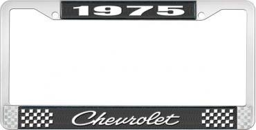 OER 1975 Chevrolet Style # 4 Black and Chrome License Plate Frame with White Lettering LF2237504A