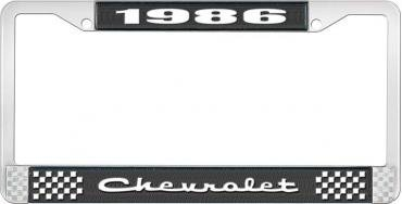 OER 1986 Chevrolet Style # 2 Black and Chrome License Plate Frame with White Lettering LF2238602A