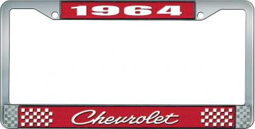 OER 1964 Chevrolet Style #4 Red and Chrome License Plate Frame with White Lettering LF2236404C