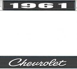 OER 1961 Chevrolet Style #4 Black and Chrome License Plate Frame with White Lettering LF2236104A