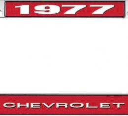 OER 1977 Chevrolet Style #1 - Red and Chrome License Plate Frame with White Lettering *LF2237701C