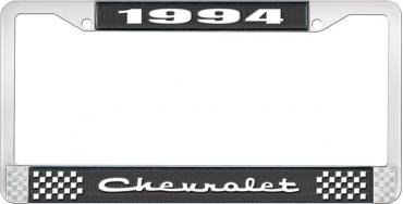 OER 1994 Chevrolet Style # 2 Black and Chrome License Plate Frame with White Lettering LF2239402A