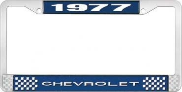 OER 1977 Chevrolet Style #1 - Blue and Chrome License Plate Frame with White Lettering *LF2237701B