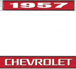 OER 1957 Chevrolet Style #3 Red and Chrome License Plate Frame with White Lettering LF2235703C