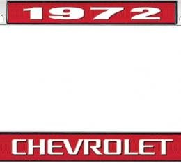 OER 1972 Chevrolet Style #3 - Red and Chrome License Plate Frame with White Lettering *LF2237203C
