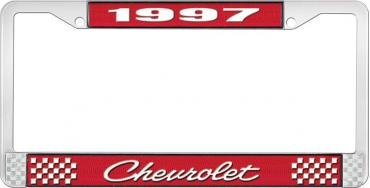 OER 1997 Chevrolet Style # 4 Red and Chrome License Plate Frame with White Lettering LF2239704C