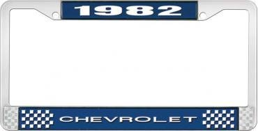 OER 1982 Chevrolet Style # 1 Blue and Chrome License Plate Frame with White Lettering LF2238201B