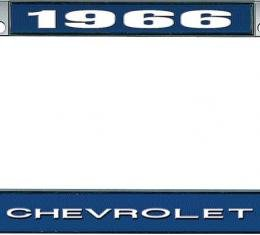 OER 1966 Chevrolet Style #1 Blue and Chrome License Plate Frame with White Lettering LF2236601B