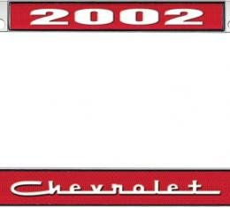 OER 2002 Chevrolet Style #5 Red and Chrome License Plate Frame with White Lettering LF2230205C