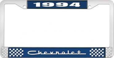OER 1994 Chevrolet Style # 5 Blue and Chrome License Plate Frame with White Lettering LF2239405B