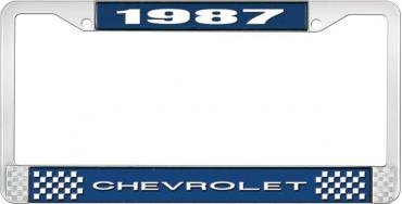OER 1987 Chevrolet Style #1 - Blue and Chrome License Plate Frame with White Lettering *LF2238701B