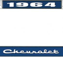 OER 1964 Chevrolet Style #2 Blue and Chrome License Plate Frame with White Lettering LF2236402B