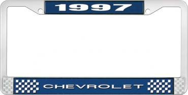 OER 1997 Chevrolet Style # 1 Blue and Chrome License Plate Frame with White Lettering LF2239701B