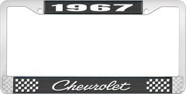 OER 1967 Chevrolet Style #4 Black and Chrome License Plate Frame with White Lettering LF2236704A