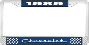 OER 1989 Chevrolet Style # 5 Blue and Chrome License Plate Frame with White Lettering LF2238905B