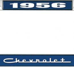 OER 1956 Chevrolet Style #5 - Blue and Chrome License Plate Frame with White Lettering *LF2235605B