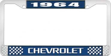 OER 1964 Chevrolet Style #3 Blue and Chrome License Plate Frame with White Lettering LF2236403B