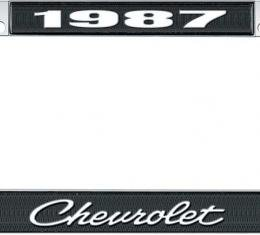 OER 1987 Chevrolet Style #4 Black and Chrome License Plate Frame with White Lettering *LF2238704A