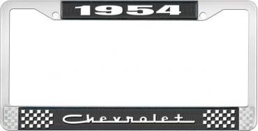 OER 1954 Chevrolet Style #5 Black and Chrome License Plate Frame with White Lettering LF2235405A