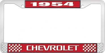 OER 1954 Chevrolet Style #3 Red and Chrome License Plate Frame with White Lettering LF2235403C