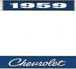 OER 1959 Chevrolet Style #4 - Blue and Chrome License Plate Frame with White Lettering *LF2235904B