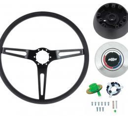 OER 1969-72 Comfort Grip Steering Wheel Kit - w/o Tilt Wheel - Black Spokes- Black Grip *K619B