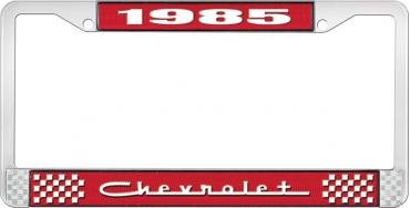 OER 1985 Chevrolet Style #5 - Red and Chrome License Plate Frame with White Lettering *LF2238505C