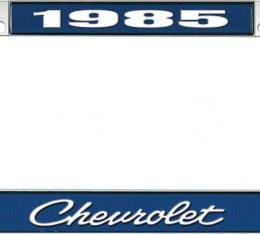 OER 1985 Chevrolet Style #4 - Blue and Chrome License Plate Frame with White Lettering *LF2238504B