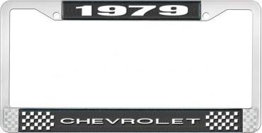 OER 1979 Chevrolet Style # 1 Black and Chrome License Plate Frame with White Lettering LF2237901A