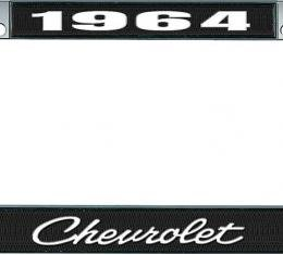 OER 1964 Chevrolet Style #4 - Black and Chrome License Plate Frame with White Lettering *LF2236404A