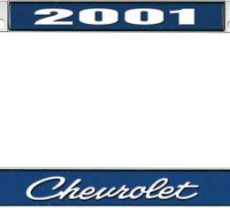OER 2001 Chevrolet Style #4 - Blue and Chrome License Plate Frame with White Lettering *LF2230104B
