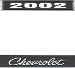 OER 2002 Chevrolet Style #4 - Black and Chrome License Plate Frame with White Lettering LF2230204A