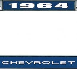 OER 1964 Chevrolet Style #1 Blue and Chrome License Plate Frame with White Lettering LF2236401B