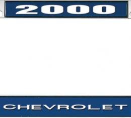 OER 2000 Chevrolet Style #1 Blue and Chrome License Plate Frame with White Lettering *LF2230001B