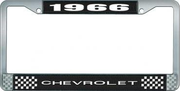 OER 1966 Chevrolet Style #1 Black and Chrome License Plate Frame with White Lettering LF2236601A