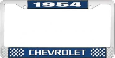 OER 1954 Chevrolet Style #3 Blue and Chrome License Plate Frame with White Lettering LF2235403B