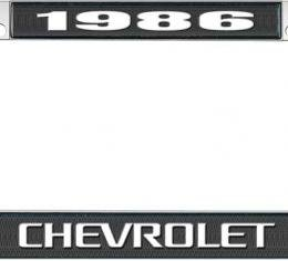 OER 1986 Chevrolet Style #3 - Black and Chrome License Plate Frame with White Lettering *LF2238603A