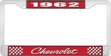 OER 1962 Chevrolet Style #4 Red and Chrome License Plate Frame with White Lettering LF2236204C